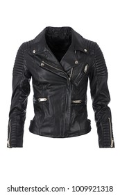 Heavy black leather woman's jacket with zippers, photographed on ghost mannequin, isolated on white background.