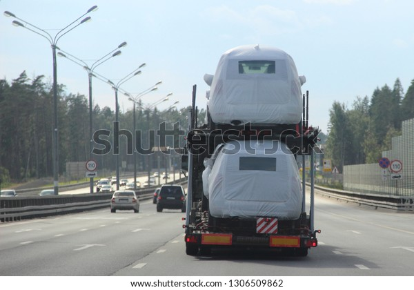 Heavy Car Carrier Truck Transports New Stock Photo (Edit Now) 1306509862