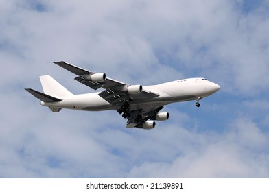 Heavy cargo jet airplane delivering freight worldwide