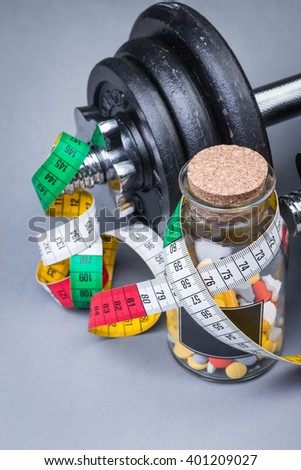 Heavy Classical Dumbbells Measuring Tape Pills Stock Photo Edit Now