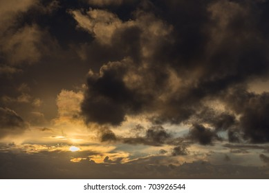 Heavy cloudy sky during the sunset