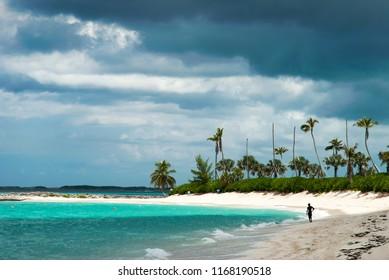The heavy cloudy sky over Paradise Island beach in The Bahamas.