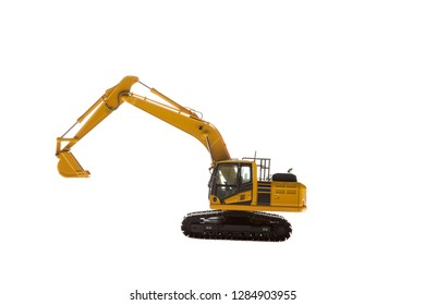 Heavy construction machinery isolated on white background