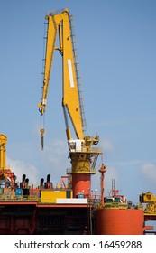 Heavy crane at offshore platform