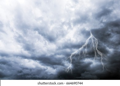 Heavy Dark Storm Cloud and Lightning. Stormy Weather