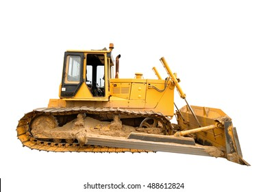 The heavy dirty building bulldozer of yellow color on a white background, isolated.