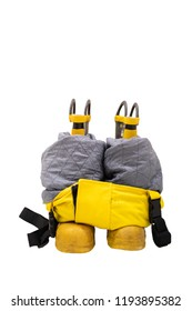 Heavy duty protective fire fighting boots with pants prepared for emergency fire fighting on isolated  white background.