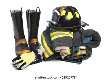 Heavy Duty Protective Fire Fighting Cloth, Boots, Gloves, Helmet, Jacket, Pants, Isolated on White Background