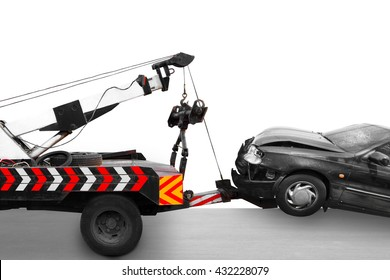 Heavy duty truck towing saloon accident on the road isolated on white background with clipping path