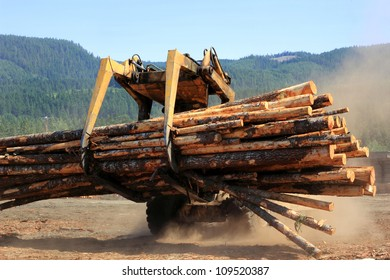 Heavy duty vehicle moving logs at a sawmill