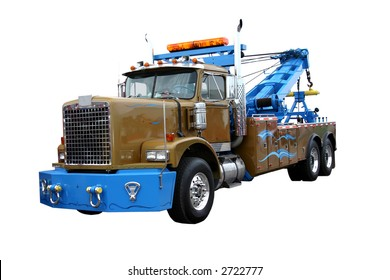 heavy duty wrecker used for towing semi trucks. Isolated on white