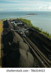 Heavy equipment at coal stockpile