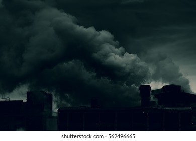 Heavy factory smoke polluting air and causing heavy environmental damage, global warming and destruction of nature.