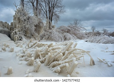 Heavy freezing spray Near Lake Erie