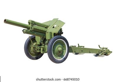 heavy guns cannon howitzer, self-propelled artillery isolated on white background