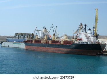 Heavy Industrial Port With Freight Ships