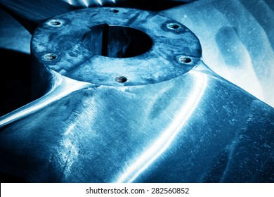 Heavy industrial shipbuilding element close-up. Industry, naval production. Blue tone