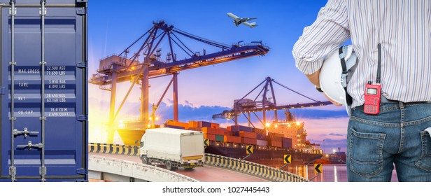 Heavy industry of cargo ship terminal and logistics transportation., Air freight, Sea freight, Business industrial concept.