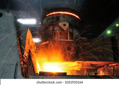 heavy industry metallurgical plant produces steel