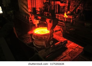 heavy industry metallurgical plant produces steel in stove busket
