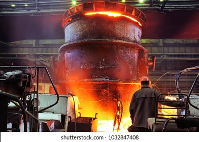 heavy industry metallurgical plant sparks stove metall