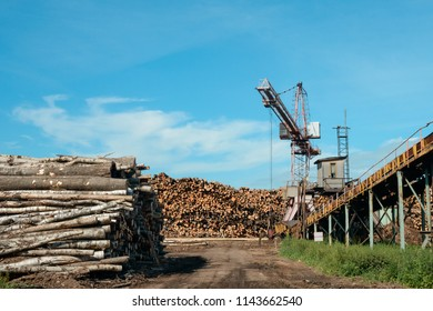 Heavy lifting crane on timber warehouse at the processing plant. Lumber industry. Logging and wood storage. Woodworking industry