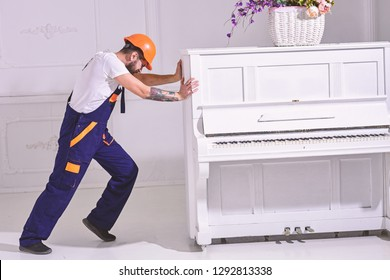 Heavy loads concept. Loader moves piano instrument. Courier delivers furniture, move out, relocation. Man with beard worker in helmet and overalls pushes, put efforts to move piano, white background.