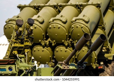 Heavy machine gun antiaircraft defense on background of antiaircraft missile complex S-300