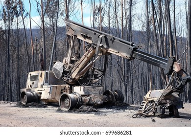 Heavy Machinery  destroyed during Wildfires In Portugal