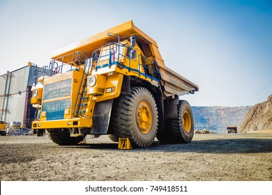 Heavy machinery. Dump truck in the quarry. Mining machinery