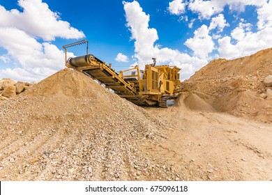 Heavy machinery for processing stone in a quarry