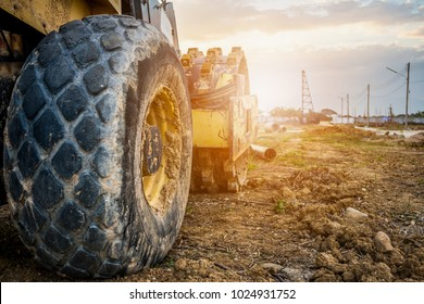 heavy machinery working at construction site