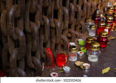 Heavy metal chains and candles, Budapest, Hungary.