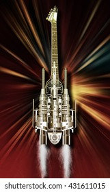A heavy metal guitar flying over Flames, 3D illustration