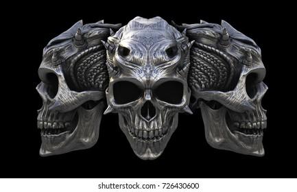 Heavy metal horned demon skulls - 3D Illustration