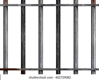 Heavy Metal Prison style bars isolated on a white background. 3D illustration.
