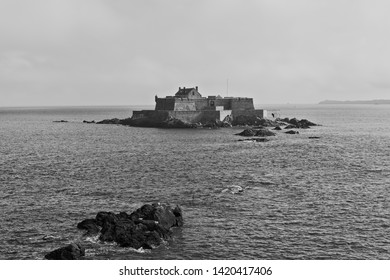 A heavy mist begins to swirl around the ancient Fort National and its small island clost to the town of St Malo.