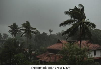 Heavy rain accompanied by storm. Monsoon season . Rainy Season. Cloudy atmoshpere .