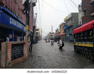 Heavy Rain in different areas of kanpur toady. The photo is taken at Govind Nagar Chauraha in Kanpur, Uttarpardesh, India. June 25 2019