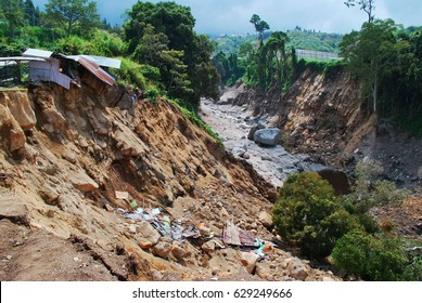 Heavy rain, and erosion caused of the landslide.