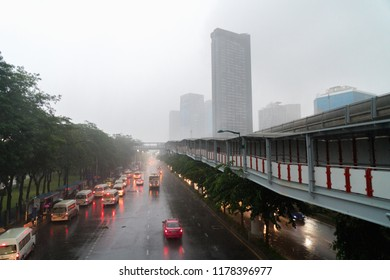 Heavy rain in the evening after work at  Chatuchak Bangkok.