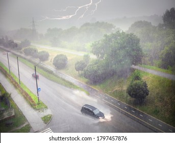 Heavy rain and heavy hail is a natural disaster, during a thunderstorm it bends and breaks trees, floods city streets, creates accidents on the roads. Lightning strike.