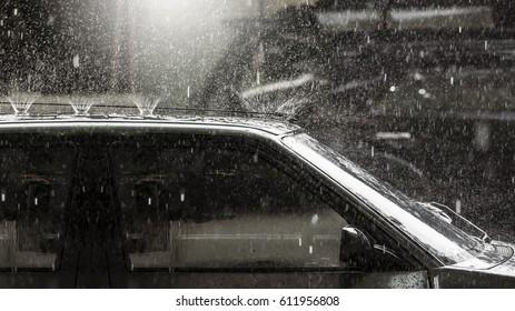 heavy rain on vintage car roof