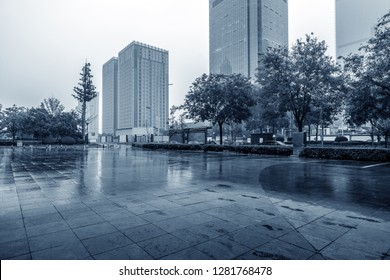Heavy rain in the streets and skyscrapers, Xi'an, China.