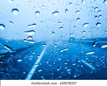 an heavy raining.The road are wet. To be safe,  slowly and carefully on driving.