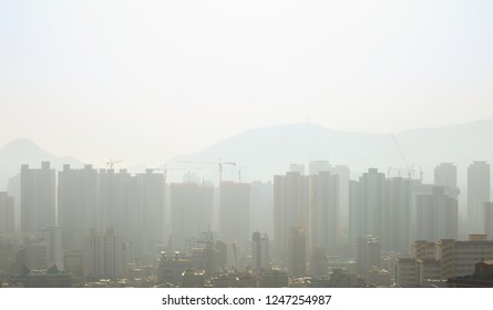 Heavy smog and fine dust in Korea, Busan.
