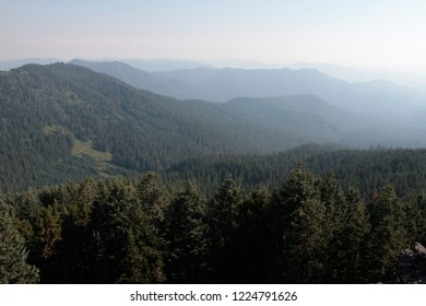 Heavy smoke in Lookout Creek drainage, from Carpenter Mountain fire lookout, H.J. Andrews Experimental Forest, Willamette National Forest, Oregon, USA