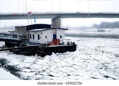 Heavy snow in the city of Novi Sad, Serbia