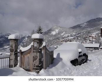 Heavy snow on small hotel in Chatel, France