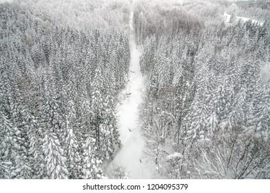 Heavy snow at Zao Mountain peak, Tohoku, Japan.